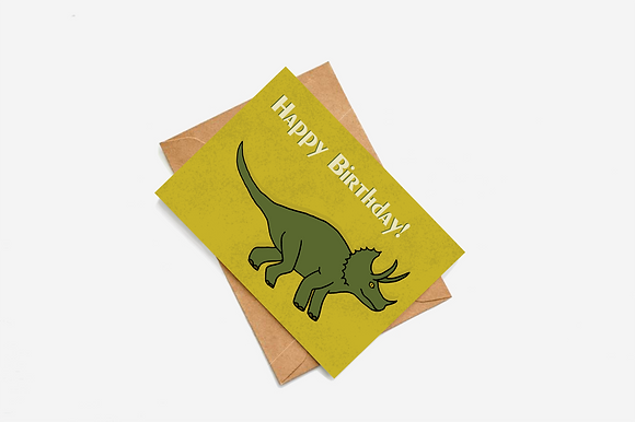 Dinosaur Happy Birthday lllustration card