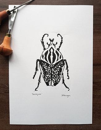 'Beetlejuice' Lino Print