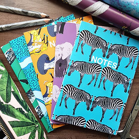 recycled notebooks - animal illustrations.