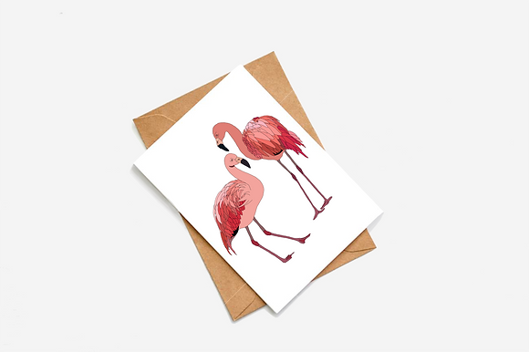 Flamingo pair llustration card
