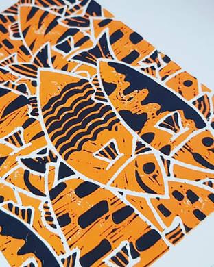 Reductive Lino Print - Fish