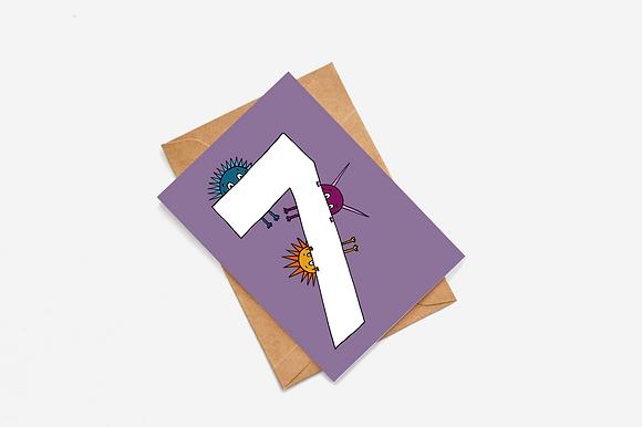 7th Birthday Goblin - Purple lllustration card