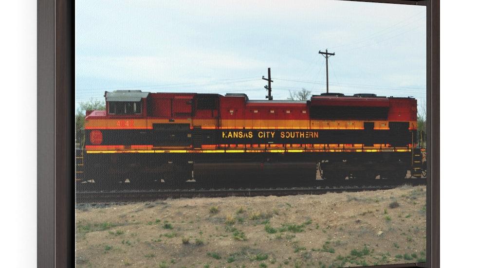 Kansas City Southern Locomotive Horizontal Framed Premium Gallery Wrap Canvas