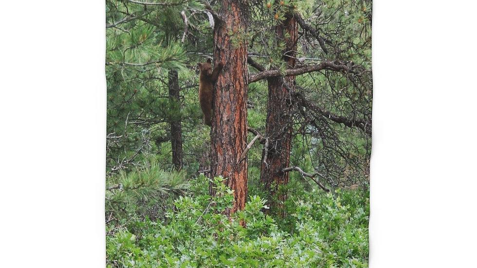 Bear Cub Climbing Tree Sherpa Fleece Blanket