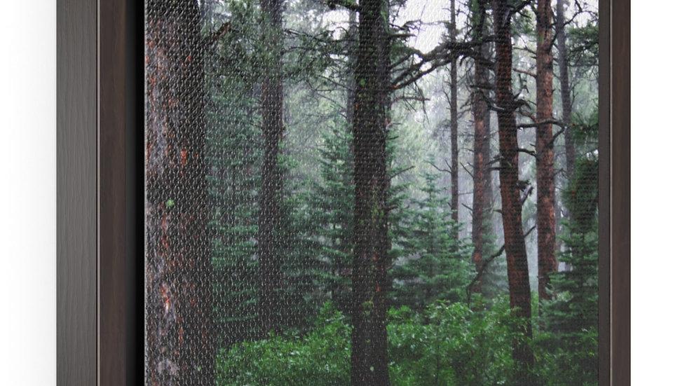 Mountain Rain and Fog Horizontal Framed Premium Gallery Wrap Canvas