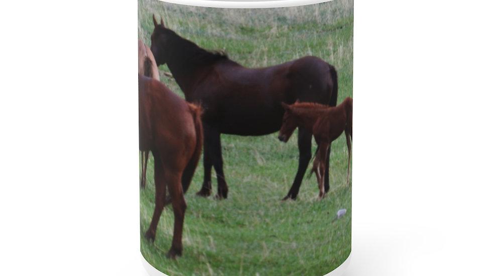 Horses in the Pasture White Ceramic Mug