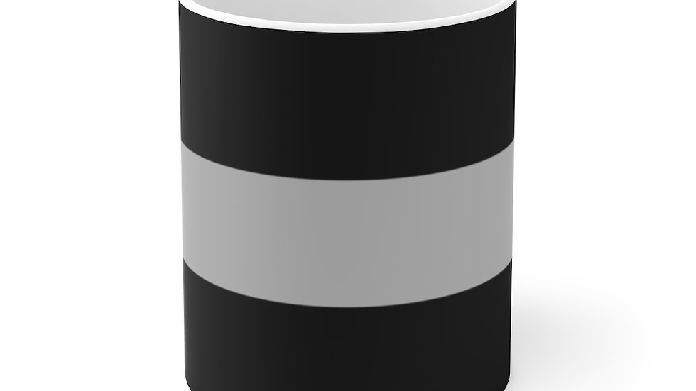 Thin Silver Line White Ceramic Mug