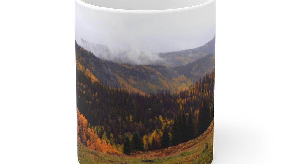 Mountain Fall Foliage White Ceramic Mug