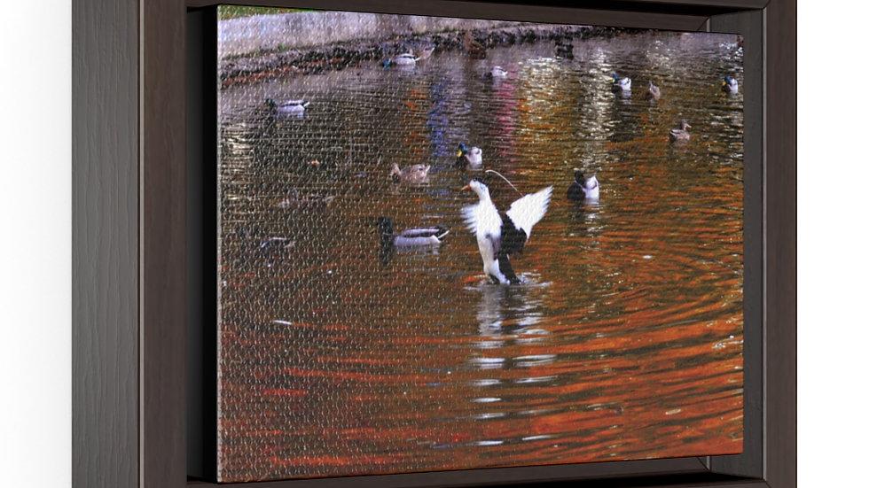 Ducks on the Pond Horizontal Framed Premium Gallery Wrap Canvas