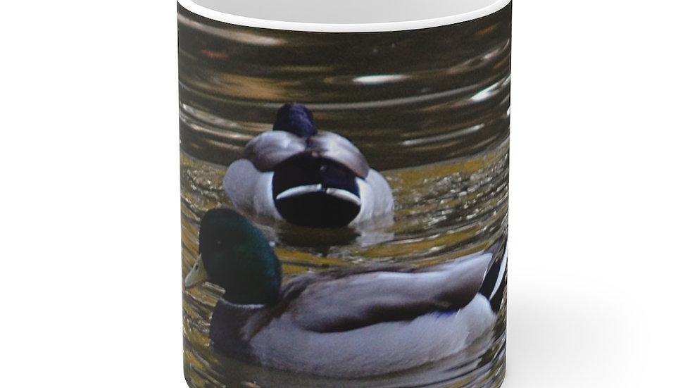 Duck on the Water White Ceramic Mug