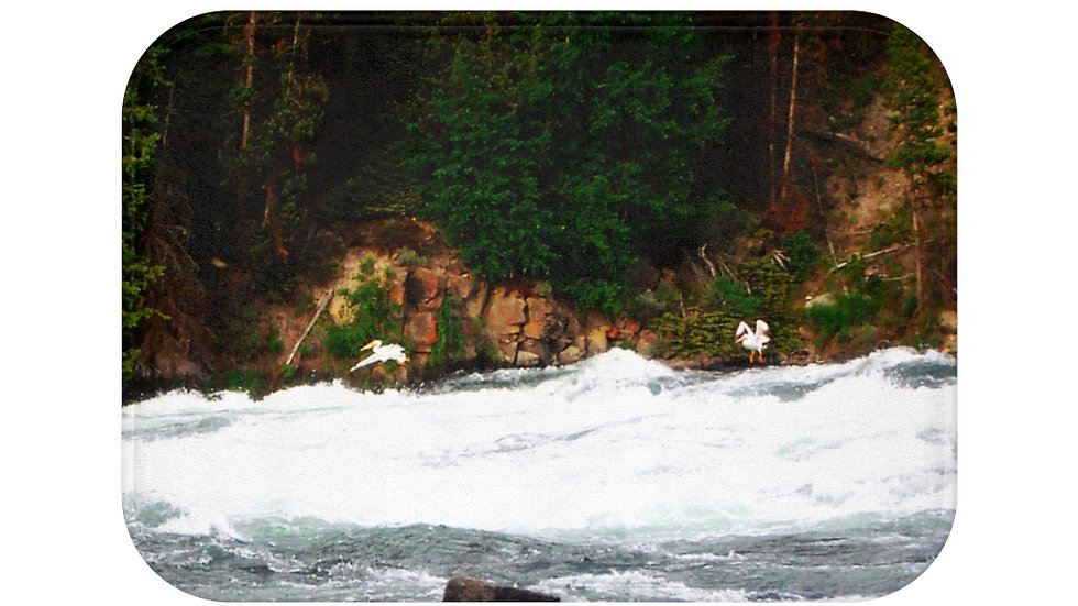 Pelicans in Flight, Yellowstone National Park Bath Mat