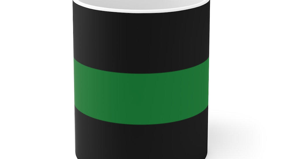 Thin Green Line White Ceramic Mug