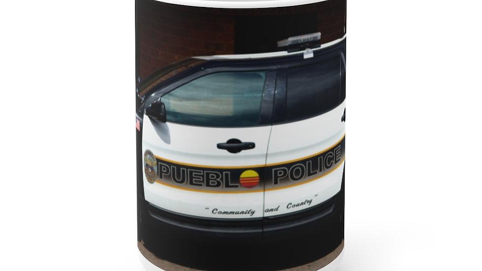 Pueblo Police Cruiser, Pueblo, Colorado White Ceramic Mug