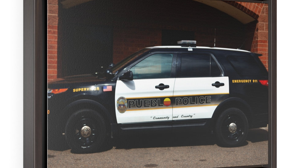 Pueblo Police Cruiser Horizontal Framed Premium Gallery Wrap Canvas
