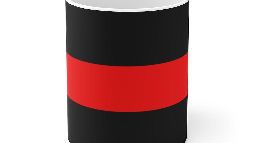 Thin Red Line White Ceramic Mug