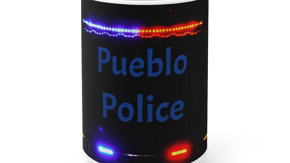 Pueblo Police White Ceramic Mug