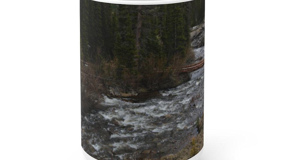 Mountain River White Ceramic Mug