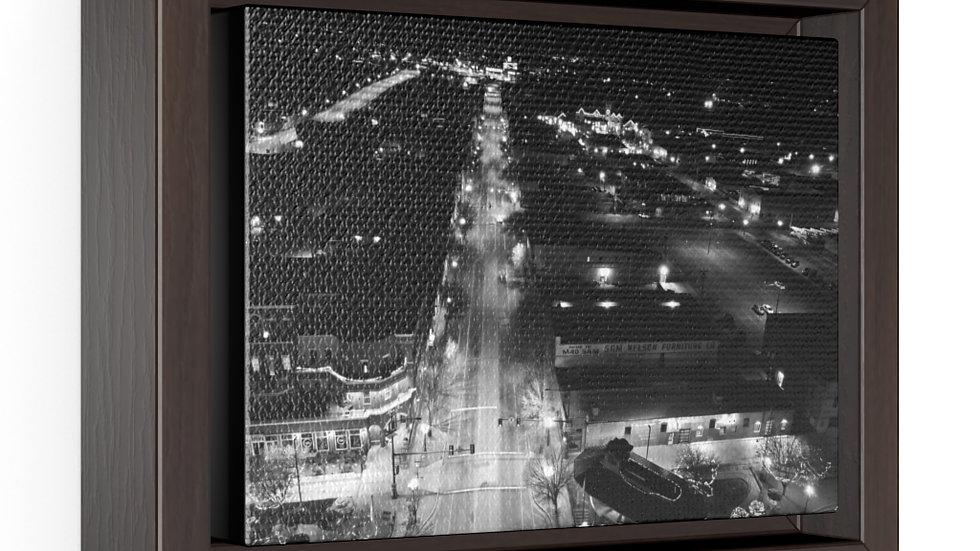 Union Ave, Pueblo, Colorado B/W Horizontal Framed Premium Gallery Wrap Canvas