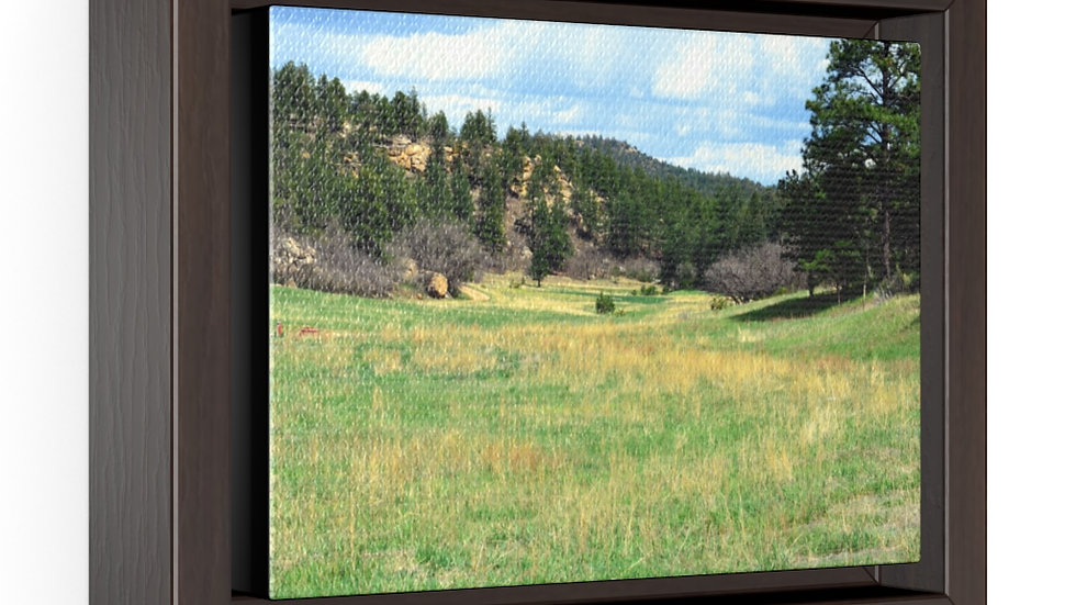 Mountain Valley Meadow Horizontal Framed Premium Gallery Wrap Canvas