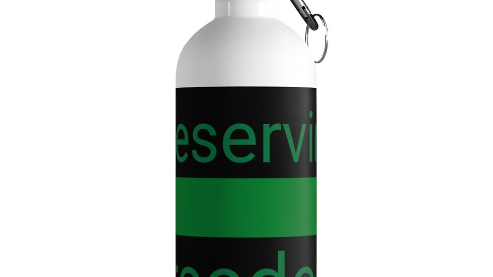 Preserving Freedom Thin Green Line Stainless Steel Water Bottle