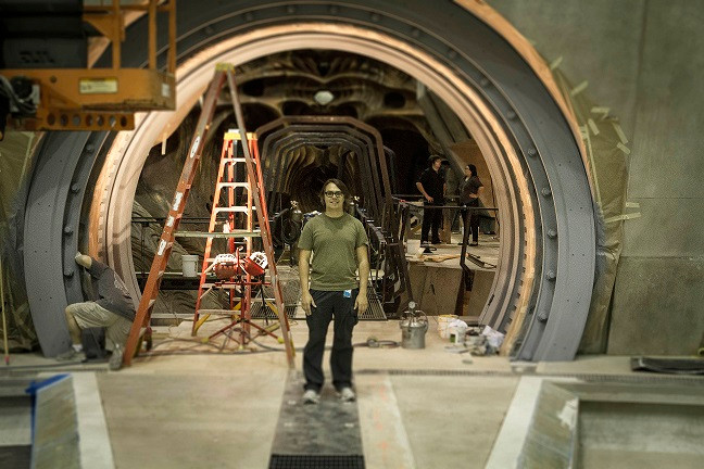 David on the set of Ender's Game