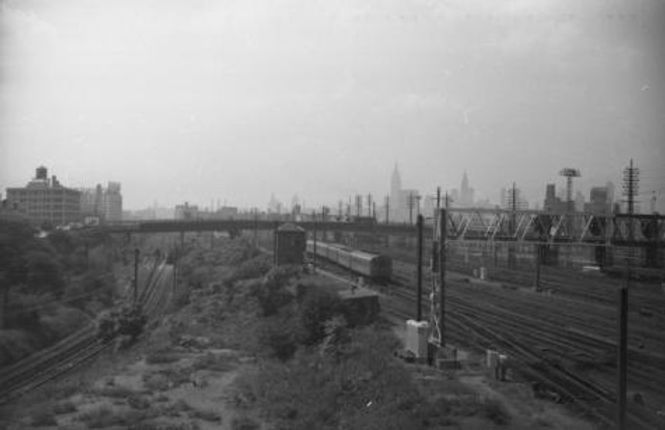 Sunnyside railway yard looking West from