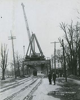 Queens Boulevard elevated subway constru