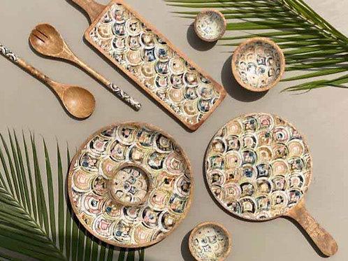 Charpayi-Pizza-Snacks-round- Platter, Bowl & Spoon