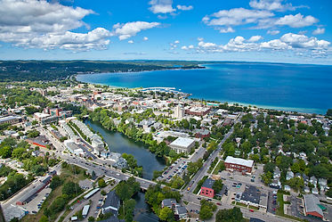 Downtown Traverse City Michigan Aerial .