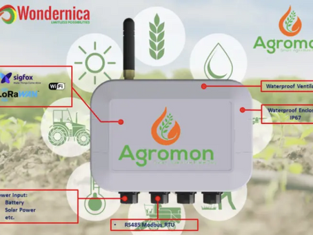 Agromon smart agriculture wireless transmitter connects ModBus RS485 sensors to WiFi, LoRaWAN, Sigfo