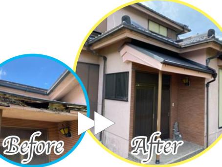 【足立区千住寿町】ひどくなる玄関先の雨漏りを修理したい!玄関庇屋根リフォームレポート