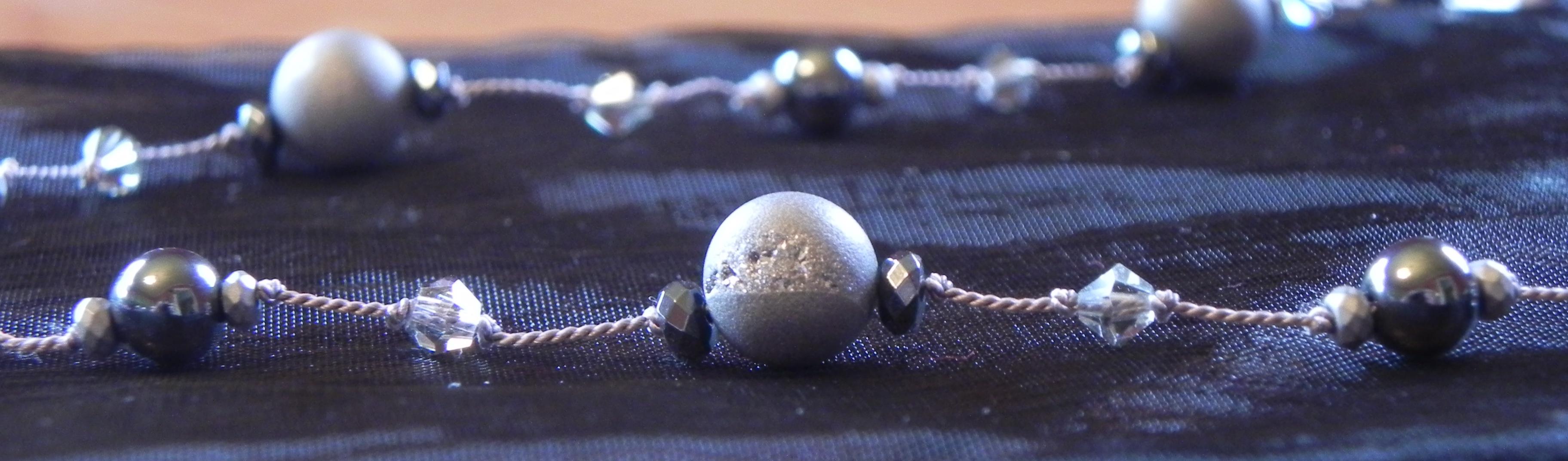 Gray Druzy Quartz Crystal & Hematite