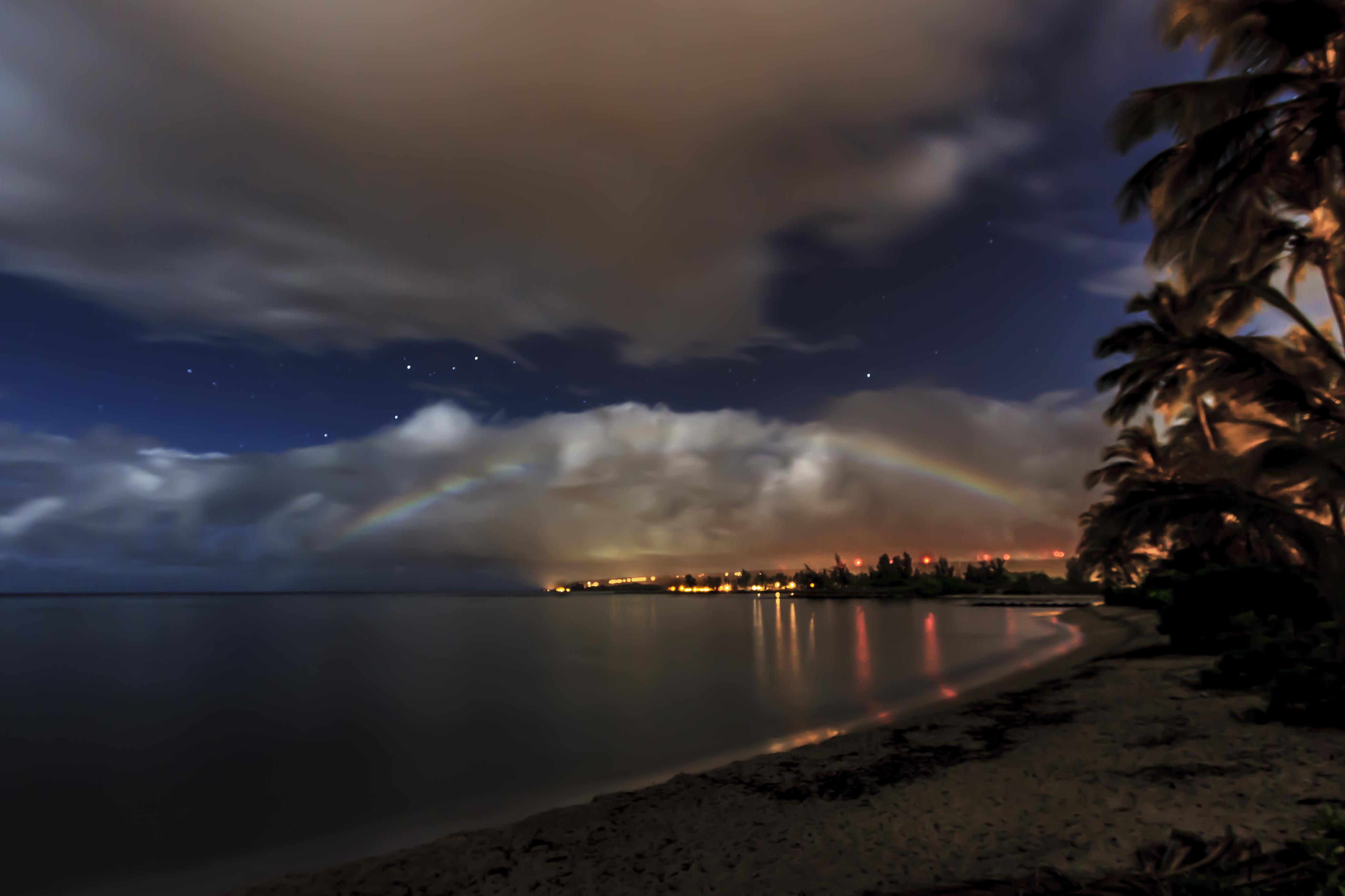 Moon bow over Haleiwa