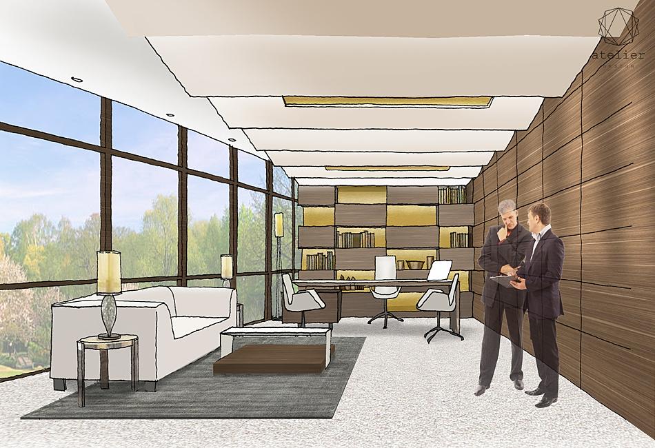 Architectural interior design proposal reception lobby area directors offices suites