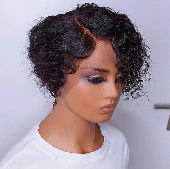 Curly Pixie Cut Bob T Part Lace Wig