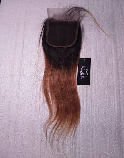Peruvian Straight Ombre Blonde 4*4 Closure