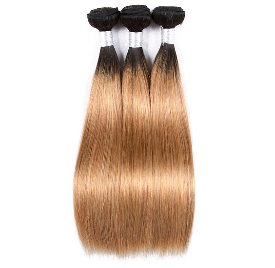 Peruvian Straight Ombre 1B/27  Blonde Bundles