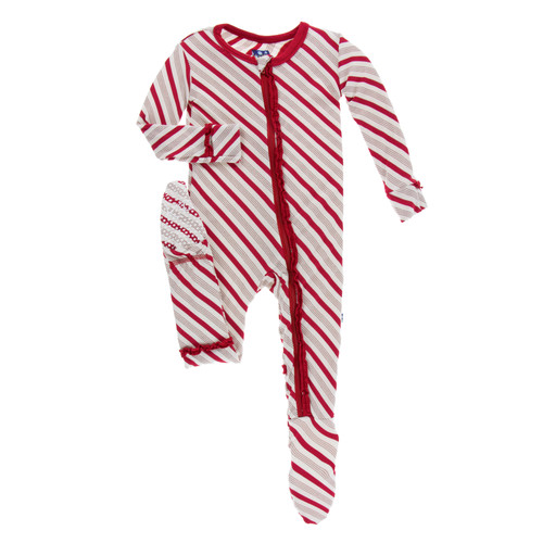 75d2625d41b Muffin Ruffle Footie w  ZIPPER - Rose Gold Candy Cane Stripes