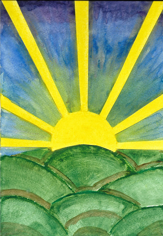 dessin de la couverture du livre illumine ta vie:un soleil levant illumine un paysage valloné