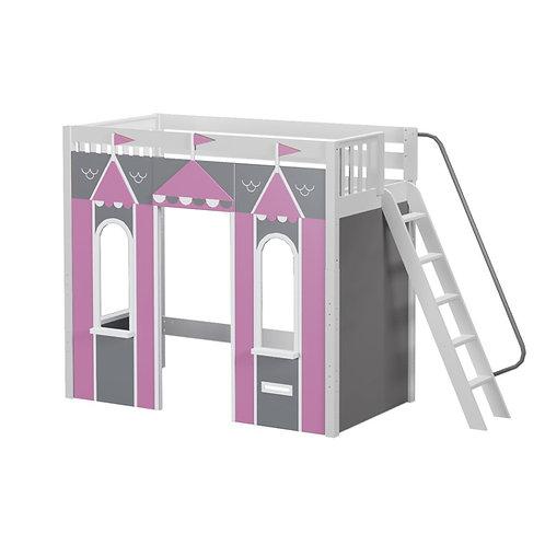 Maxtrix (高) 高架床 + 城堡 + 側扶梯 - 粉灰 (多款可選)