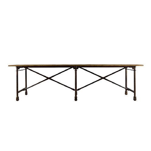 """106"""" Vintage Wood & Metal Table"""