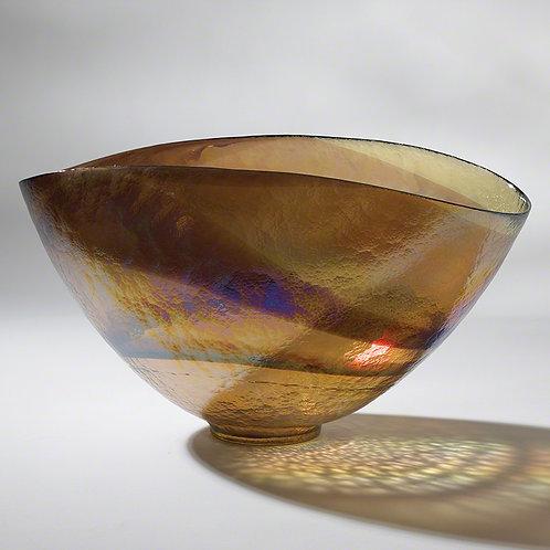 Golden Iridescent Oval Bowl