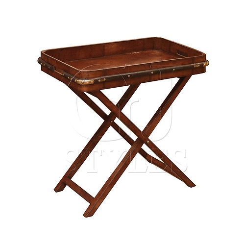 Leather Butler Tray On Stand