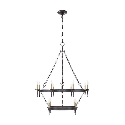 Branson Medium Two-Tiered Ring Torch Chandelier (Ralph Lauren Collection)