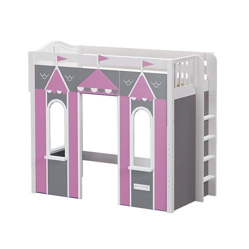 Maxtrix (高) 高架床 + 城堡 + 側直梯 - 粉灰 (多款可選)