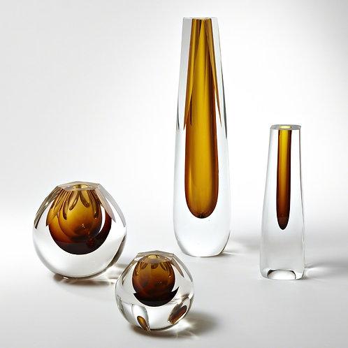 Cut Glass Vase - Amber (More Options)