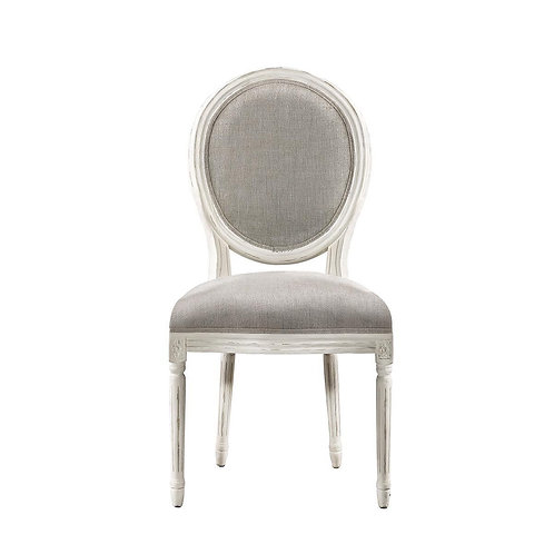 French Vintage Louis Round Vintage White Side Chair