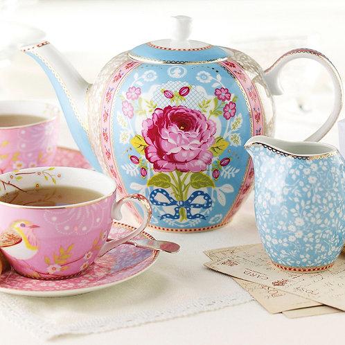 Floral Tea Pot & 4 Bird Cups Set