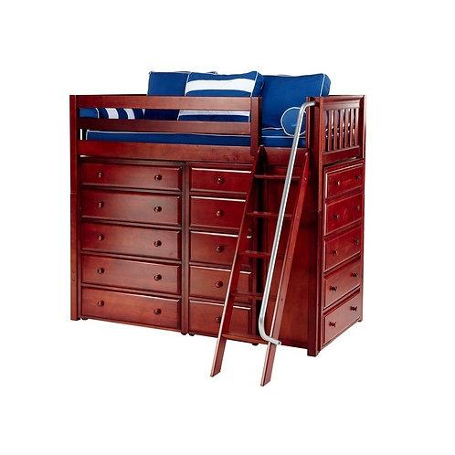 Maxtrix (高) 高架床 + 扶梯 + 衣櫃 - TWIN (多款可選)