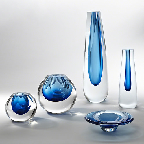 Cut Glass Vase - Cobalt (多款可選)